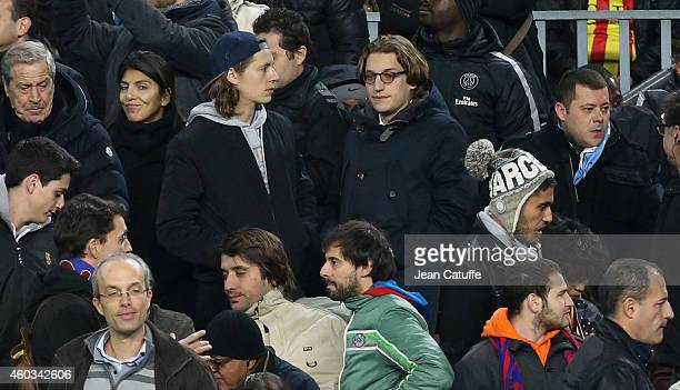 Pierre Sarkozy and Jean Sarkozy attend the UEFA Champions League Group F match between FC Barcelona and Paris SaintGermain FC at Camp Nou stadium on...
