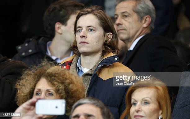 Pierre Sarkozy attends the UEFA Champions League round of 16 match between Paris SaintGermain FC and Chelsea FC at Parc des Princes stadium on...