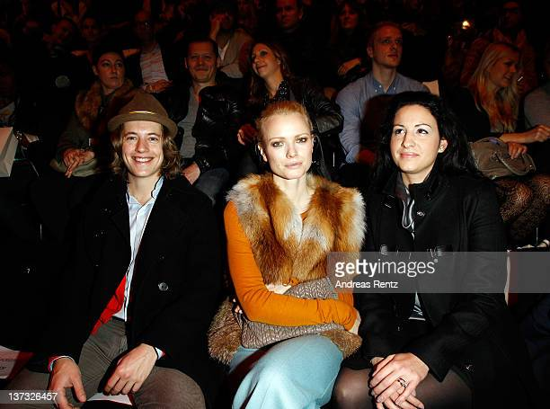 Pierre Sarkozy Franziska Knuppe and Minu Barati attend the Laurel Autumn/Winter 2012 fashion show during MercedesBenz Fashion Week Berlin at...
