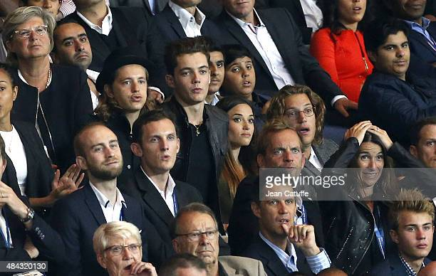 Pierre Sarkozy Louis Sarkozy and his girlfriend Capucine Anav Jean Sarkozy attend the French Ligue 1 match between Paris SaintGermain FC and GFC...