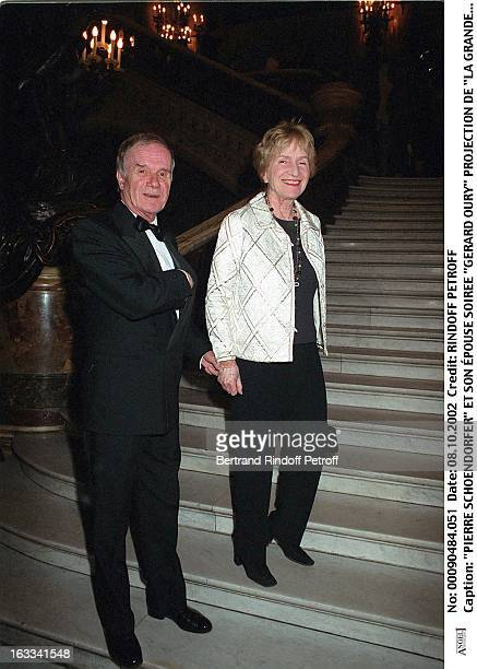 Pierre Schoendorfer and his wife 'Gerard Oury' film screening of 'La Grande Vadrouille' at the Garnier opera