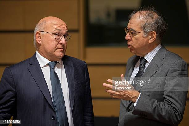 Pierre Sellal France's permanent representative to the European Union right speaks with Michel Sapin France's finance minister ahead of roundtable...