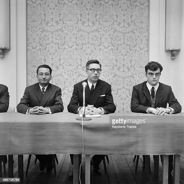 Pierre Sidos holds a press conference to announce the creation of l'Oeuvre Francaise on April 2 1968