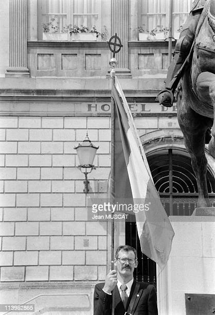 Pierre Sidos in Vaucouleurs France on June 12 1983Pierre Sidos President of nationalist movement 'L'Oeuvre Francaise' laying flowers beside statue of...
