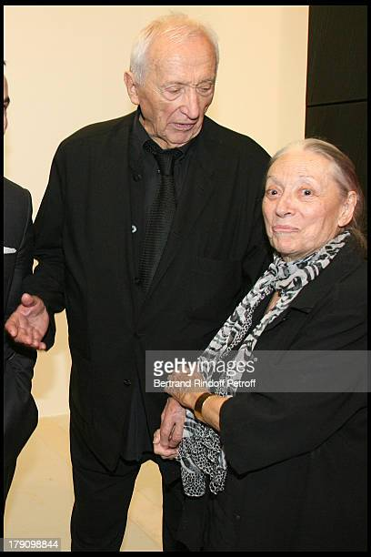 Pierre Soulages and wife Colette at Artist Pierre Soulages Honoured On His 90th Birthday With A Retrospective Of His Works At Centre Pompidou