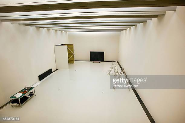 Pierre Soulages painting during installation in museum on April 11 2014 in Rodez FranceThe Soulages Museum in Rodez is due to open in May 2014 The...