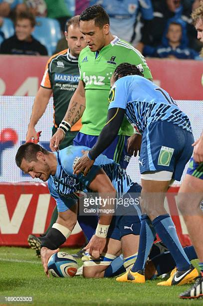 Pierre Spies of Bulls scores in 100th game during the Super Rugby match between Vodacom Bulls and Highlanders from Loftus Versfeld on May 18 2013 in...