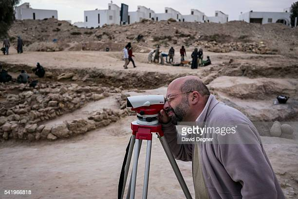 Pierre Tallet stands among the excavation site January 29 2015 in Ain Sukhna