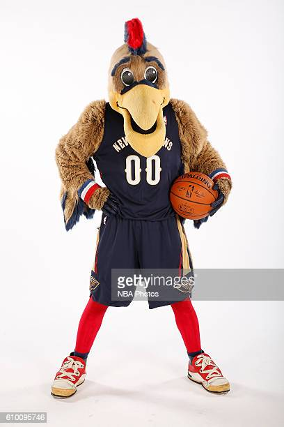 Pierre the Pelican mascot of the New Orleans Pelicans poses for a portrait during the 2016 NBA Media Day on September 23 2016 at the Smoothie King...