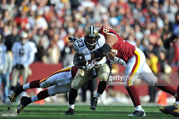 Pierre Thomas of the New Orleans Saints runs the ball against the Washington Redskins at FedExField on December 6 2009 in Landover Maryland