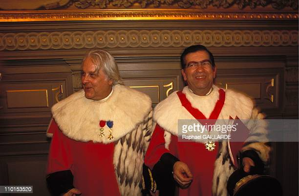 Pierre Truche new general prosecutor Pierre Drai at the court of appeal in Paris France on January 06 1993