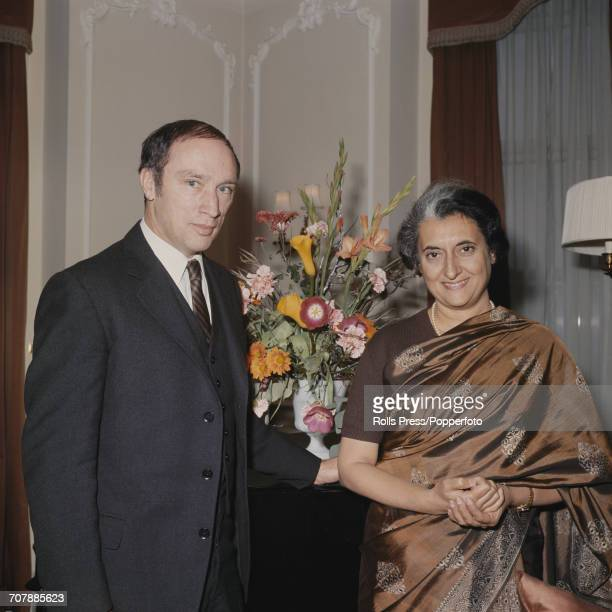 Pierre Trudeau Prime Minister of Canada pictured on left standing with Indira Gandhi Prime Minister of India at the 1969 Commonwealth Prime...