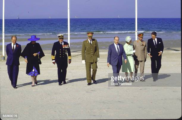 Pierre Trudeau Queen Beatrix King Olav V King Baudouin I Francois Mitterrand Queen Elizabeth II Grand Duke Jean and Ronald Reagan during ceremony on...