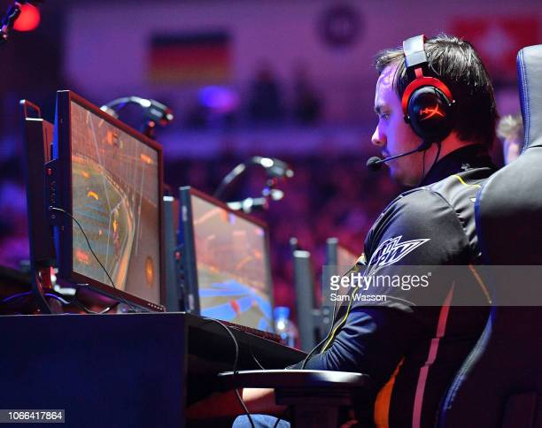 Pierre 'Turbopolsa' Silfver of team Dignitas competes during the grand finals match of the Rocket League Championship Series World Championship...