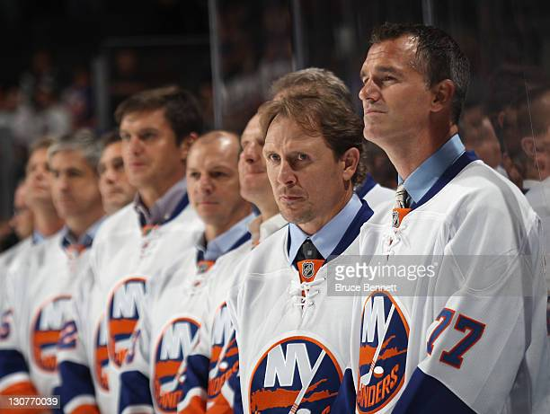 Pierre Turgeon and Steve Thomas return to the ice as the New York Islanders celebrate their 1992-1993 team prior to the game against the San Jose...