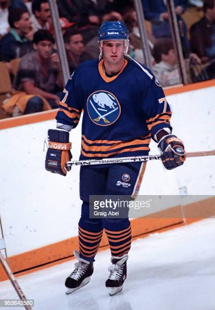 Pierre Turgeon of the Buffalo Sabres skates against the Toronto Maple Leafs during NHL preseason game action on October 2, 1988 at Maple Leaf Gardens...