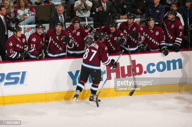 Pierre Turgeon of the Colorado Avalanche celebrates his 500th career goal against the San Jose Sharks during the game on November 8 2005 at Pepsi...