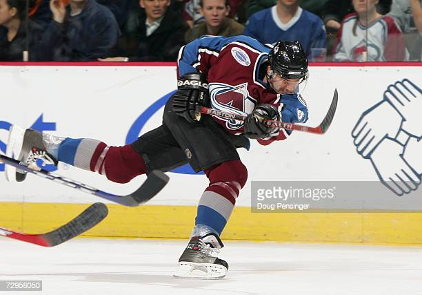 Pierre Turgeon of the Colorado Avalanche follows through on his shot against the Tampa Bay Lightning during their NHL game on January 5, 2007 at...