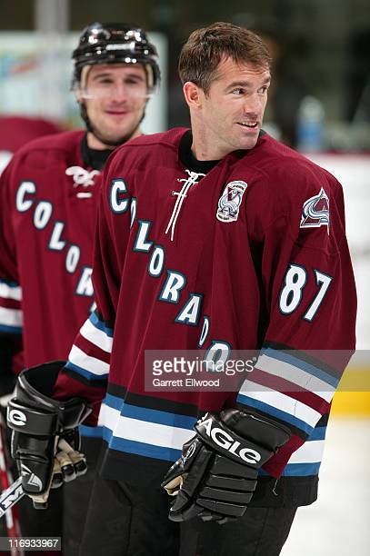 Pierre Turgeon of the Colorado Avalanche prior to the game against the San Jose Sharks during the game on November 8, 2005 at Pepsi Center in Denver,...
