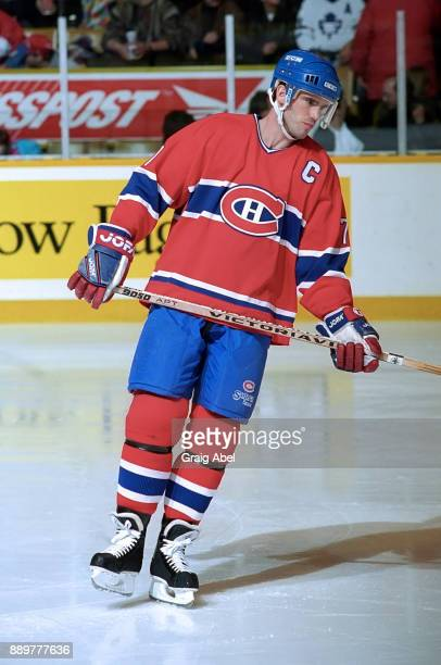 Pierre Turgeon of the Montreal Canadiens skates against the Toronto Maple Leafs on February 3, 1996 at Maple Leaf Gardens in Toronto, Ontario, Canada.