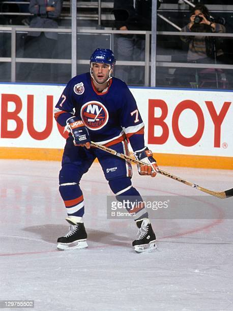 Pierre Turgeon of the New York Islanders skates on the ice during an NHL game against the New York Rangers on October 18, 1992 at the Madison Square...