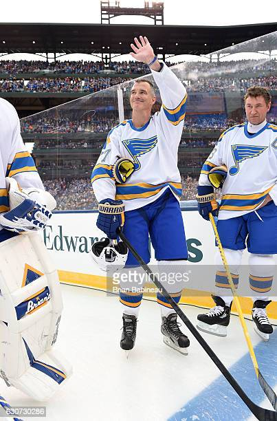 Pierre Turgeon of the St. Louis Blues alumni is introduced prior to the 2017 Bridgestone NHL Winter Classic Alumni Game at Busch Stadium on December...
