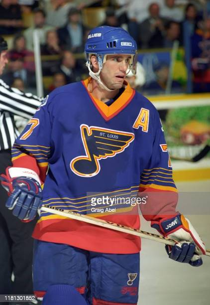 Pierre Turgeon of the St. Louis Blues skates against the Toronto Maple Leafs during NHL game action on December 3, 1996 at Maple Leaf Gardens in...