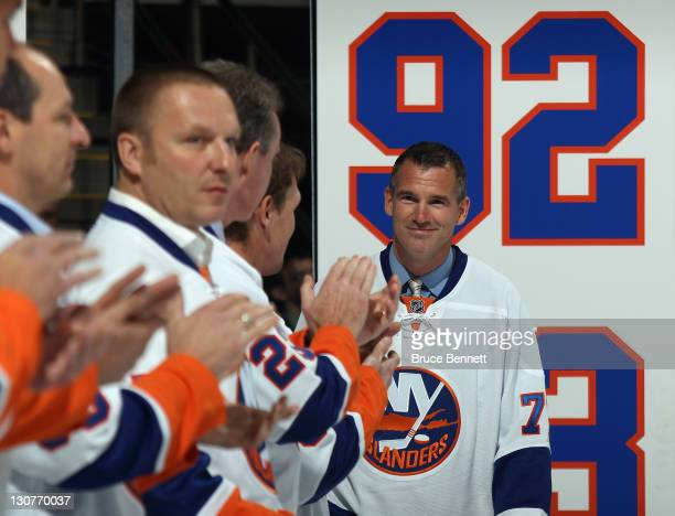 Pierre Turgeon returns to the ice as the New York Islanders celebrate their 1992-1993 team prior to the game against the San Jose Sharks Nassau...