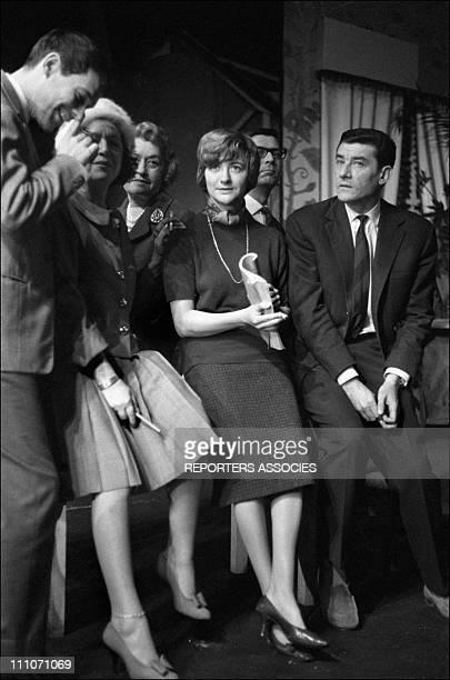 Pierre Vaneck Marie Bell Francoise Sagan in 'Les violons parfois' at the theatre de l'Aterlier in Paris France in November 1961