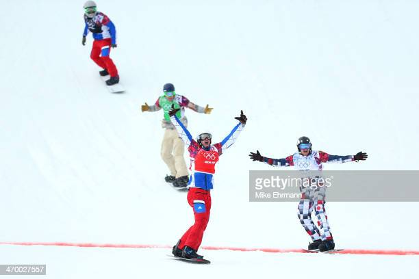 Pierre Vaultier of France celebrates as he wins the gold medal ahead of Nikolay Olyunin of Russia and Alex Deibold of the United States in the Men's...