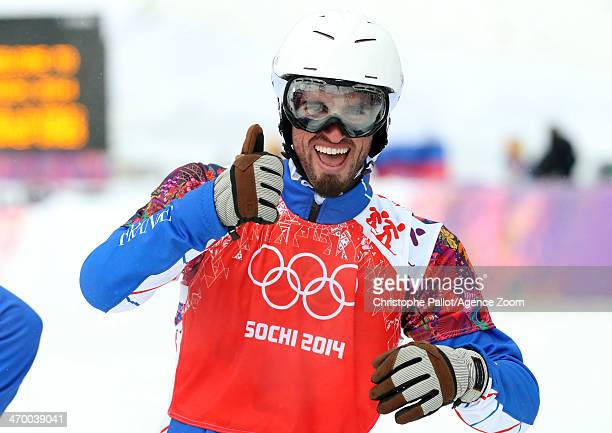 Pierre Vaultier of France celebrates winning the gold medal during the Snowboarding Men's Snowboard Cross at the Rosa Khutor Extreme Park on February...