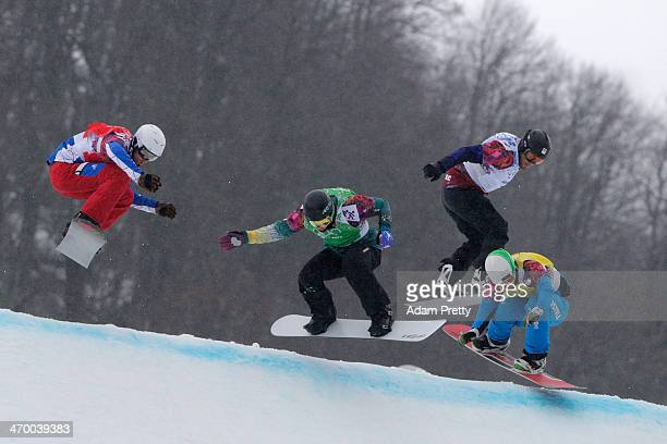 Pierre Vaultier of France Jarryd Hughes of Australia Emil Novak of the Czech Republic and Hanno Douschan of Austria compete in the Men's Snowboard...