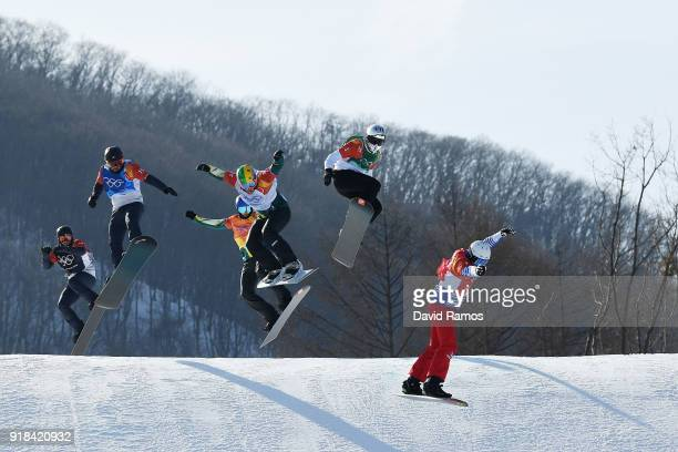 Pierre Vaultier of France leads the pack during the Men's Snowboard Cross Big Final on day six of the PyeongChang 2018 Winter Olympic Games at...