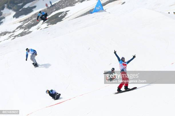 Pierre Vaultier of France wins the gold medal Lucas Eguibar wins the silver medal Alex Pullin of Australia wins the bronze medal during the FIS...