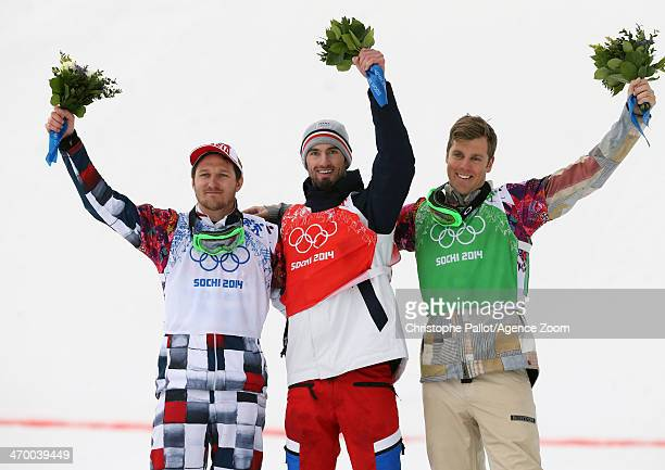 Pierre Vaultier of France wins the gold medal Nikolay Olyunin of Russia wins the silver medal and Alex Deibold of the USA wins the bronze medal...