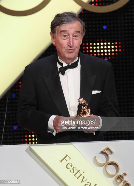 Pierre Vernier receives award from Barbara Bain at Grimaldi Forum on June 10 2010 in MonteCarlo Monaco