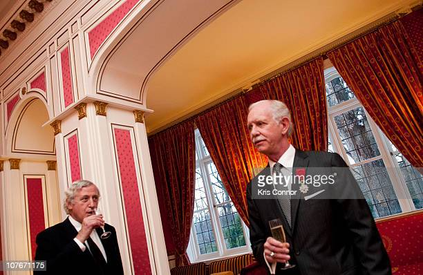 Pierre Vimont and Chesley Sullenberger speak during a presentation which saw Sullenberger receive the Officer Award at the French Ambassador's...