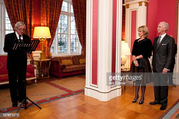 Pierre Vimont speaks during a presentation of the Officier Award to Chesley Sullenberger at the French Ambassador's Residence on December 17 2010 in...