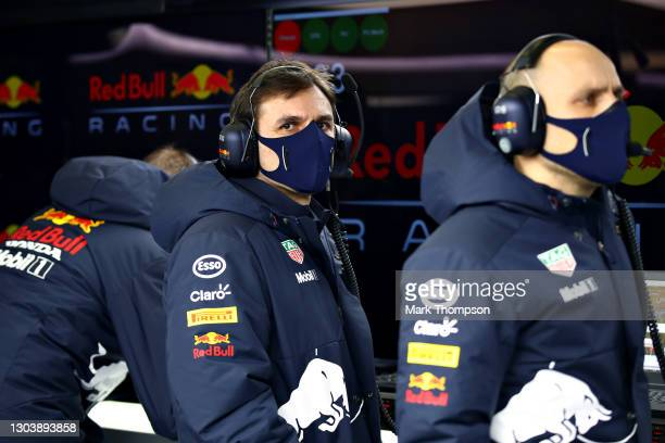 Pierre Wache, Chief Engineer of Performance Engineering at Red Bull Racing looks on in the garage during the Red Bull Racing Filming Day at...
