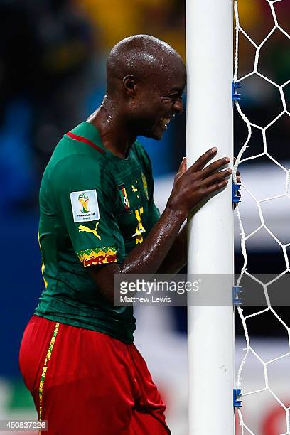 Pierre Webo of Cameroon reacts late in the game during the 2014 FIFA World Cup Brazil Group A match between Cameroon and Croatia at Arena Amazonia on...