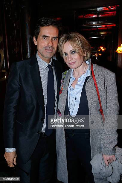 Pierre Yovanovitch and Singer Patricia Kaas attend the Dinner in honor of the Artist Adrian Ghenie organized by Thaddaeus Ropac at Maxim's on October...