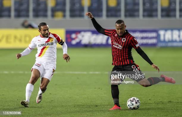 Pierre Yves Nicolas Polomat of Genclerbirligi in action against Halil Akbunar of Goztepe during the Turkish Super Lig week 41 soccer match between...