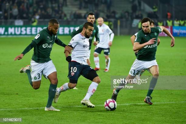 Pierre Yves Polomat of ASSE Naim Sliti of Dijon and Ole Selnaes of ASSE during the Ligue 1 match between Saint Etienne and Dijon at Stade...