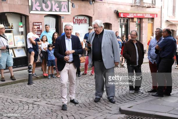 Pierre Yves Revol and Paul Goze are seen at the burial of Pierre Camou in Saint Jean Pied de Port during the Funeral of former rugby player Pierre...