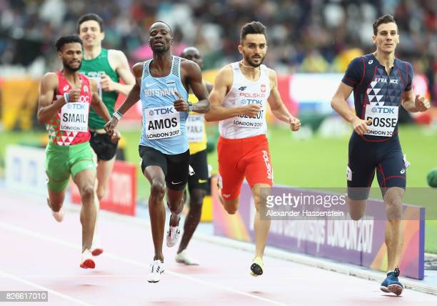 Pierre-Ambroise Bosse of France, Adam Kszczot of Poland and Nijel Amos of Botswana compete during the mens 800m heats during day two of the 16th IAAF...
