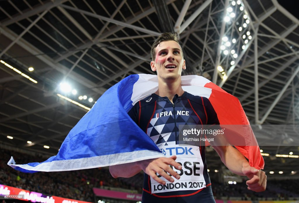 Pierre-Ambroise Bosse of France celebrates after winning the Men's 800 metres final during day five of the 16th IAAF World Athletics Championships London 2017 at The London Stadium on August 8, 2017 in London, United Kingdom.
