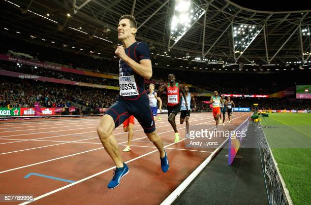 Pierre-Ambroise Bosse of France crosses the line to win the Men's 800 metres final during day five of the 16th IAAF World Athletics Championships...