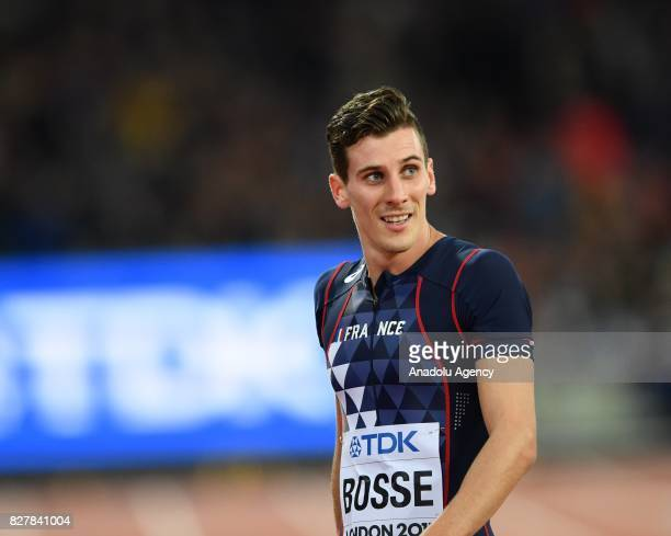 """Pierre-Ambroise Bosse of France gestures after winning the Men's 800 meters final during the """"IAAF Athletics World Championships London 2017"""" at..."""