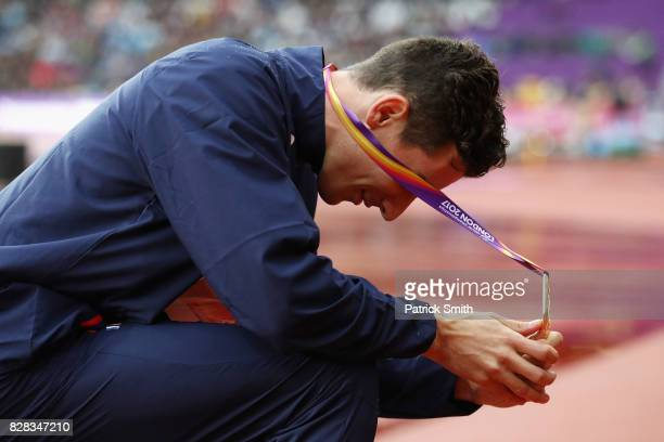 Pierre-Ambroise Bosse of France looks at his gold medal for the Men's 800 metres during day six of the 16th IAAF World Athletics Championships London...