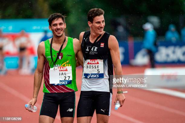 Pierre-Ambroise Bosse reacts after winning the men's 800m final ahead Gabriel Tual during the France Athletics Championships 2019 at the Henri-Lux...